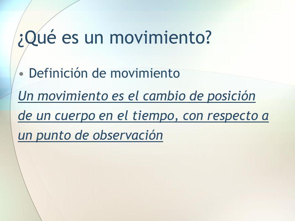 ¿Qué es un movimiento? Definición de movimiento Un movimiento es el cambio de posición de un cuerpo en el tiempo, con respecto a un punto de observaci