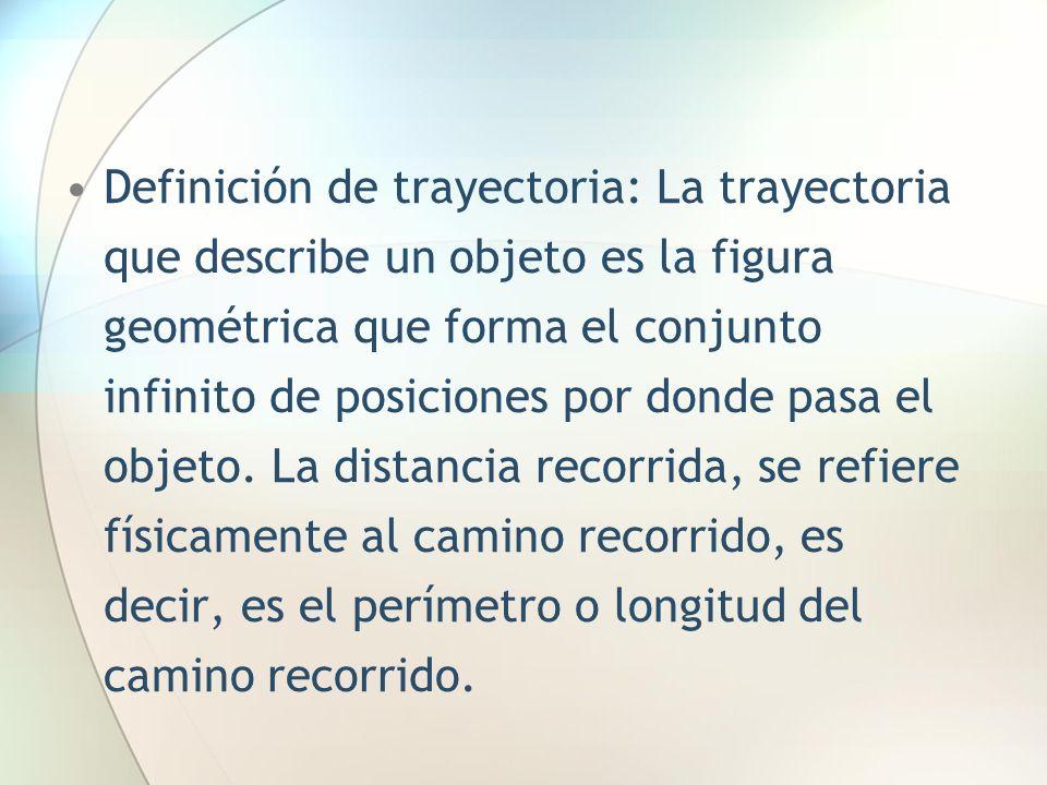 Definición de trayectoria: La trayectoria que describe un objeto es la figura geométrica que forma el conjunto infinito de posiciones por donde pasa e