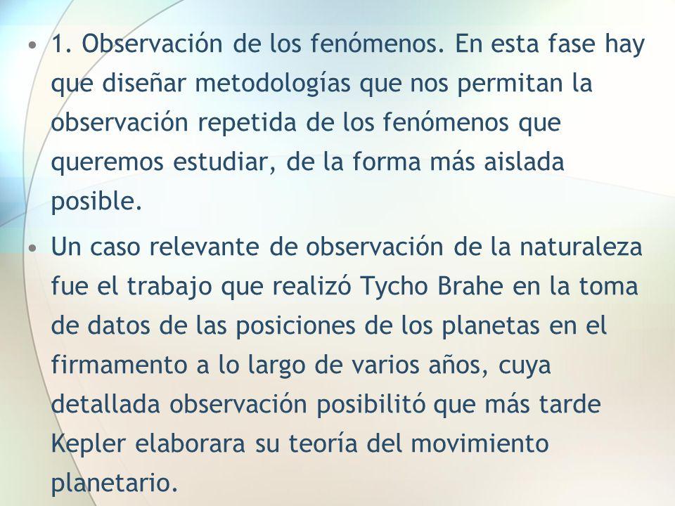 1. Observación de los fenómenos. En esta fase hay que diseñar metodologías que nos permitan la observación repetida de los fenómenos que queremos estu