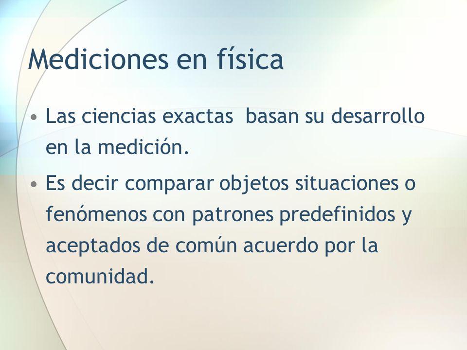 Mediciones en física Las ciencias exactas basan su desarrollo en la medición. Es decir comparar objetos situaciones o fenómenos con patrones predefini