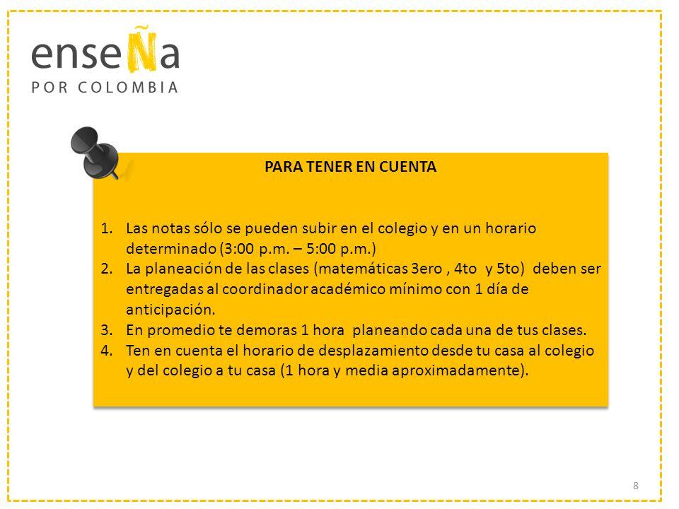 PARA TENER EN CUENTA 1.Las notas sólo se pueden subir en el colegio y en un horario determinado (3:00 p.m. – 5:00 p.m.) 2.La planeación de las clases
