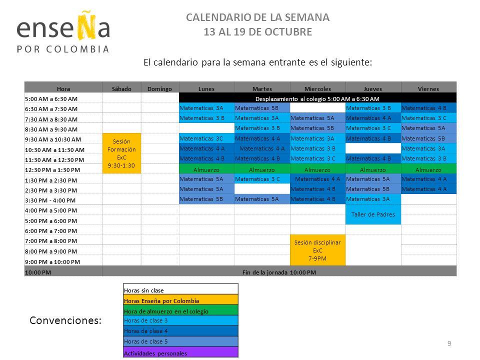 CALENDARIO DE LA SEMANA 13 AL 19 DE OCTUBRE Convenciones: HoraSábadoDomingoLunesMartesMiercolesJuevesViernes 5:00 AM a 6:30 AM Desplazamiento al coleg