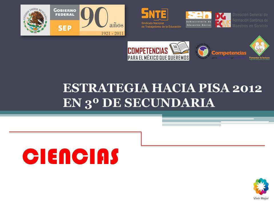 ESTRATEGIA HACIA PISA 2012 EN 3º DE SECUNDARIA Enero 2012 CIENCIAS