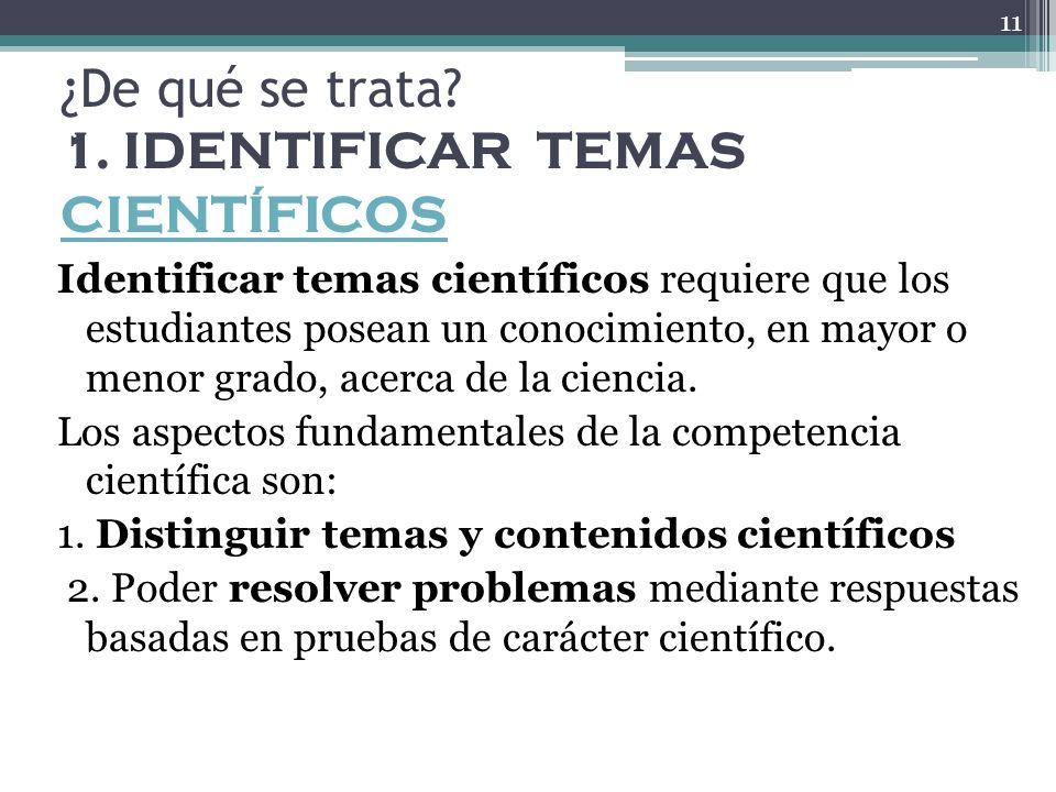 ¿De qué se trata? 1. IDENTIFICAR TEMAS CIENTÍFICOS CIENTÍFICOS Identificar temas científicos requiere que los estudiantes posean un conocimiento, en m
