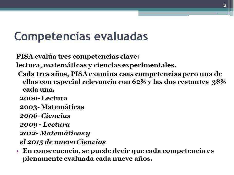 Competencias evaluadas PISA evalúa tres competencias clave: lectura, matemáticas y ciencias experimentales. Cada tres años, PISA examina esas competen