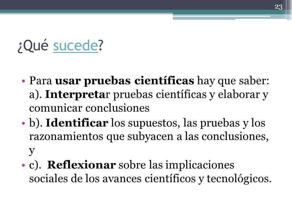 ¿Qué sucede?sucede Para usar pruebas científicas hay que saber: a). Interpretar pruebas científicas y elaborar y comunicar conclusiones b). Identifica