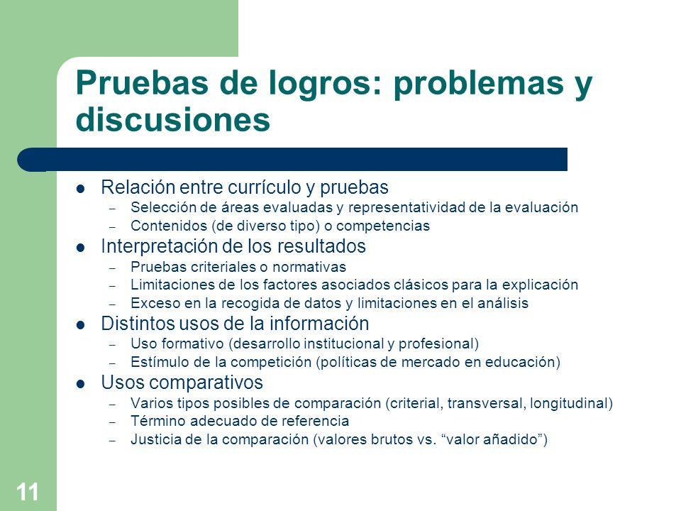 11 Pruebas de logros: problemas y discusiones Relación entre currículo y pruebas – Selección de áreas evaluadas y representatividad de la evaluación –