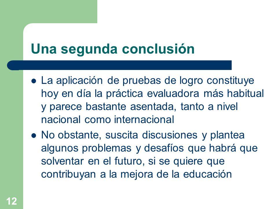 12 Una segunda conclusión La aplicación de pruebas de logro constituye hoy en día la práctica evaluadora más habitual y parece bastante asentada, tant