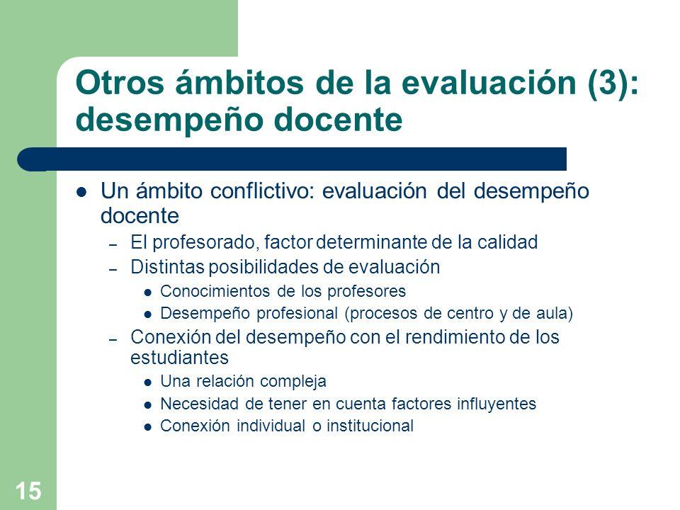 15 Otros ámbitos de la evaluación (3): desempeño docente Un ámbito conflictivo: evaluación del desempeño docente – El profesorado, factor determinante