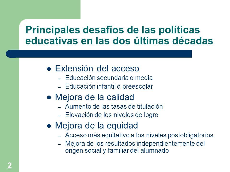 2 Principales desafíos de las políticas educativas en las dos últimas décadas Extensión del acceso – Educación secundaria o media – Educación infantil