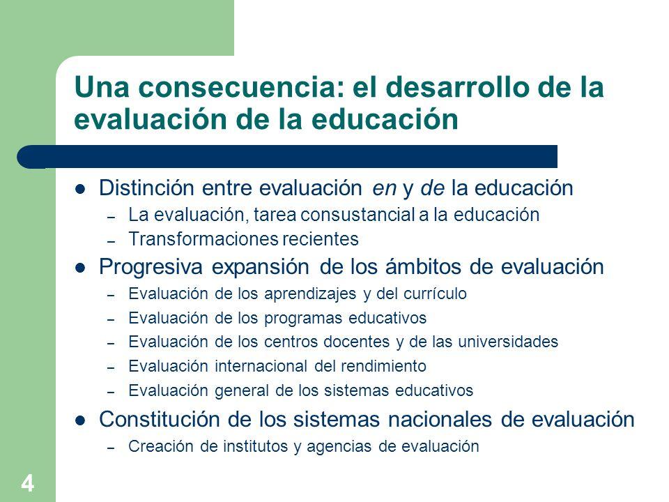 4 Una consecuencia: el desarrollo de la evaluación de la educación Distinción entre evaluación en y de la educación – La evaluación, tarea consustanci