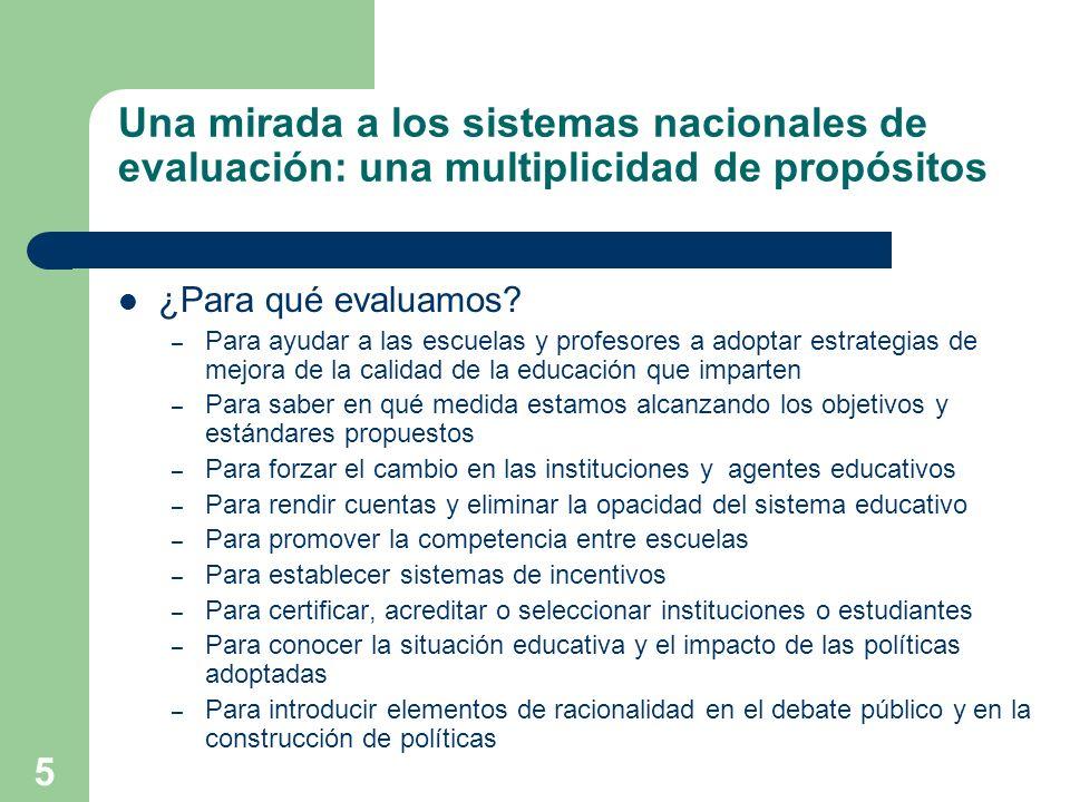5 Una mirada a los sistemas nacionales de evaluación: una multiplicidad de propósitos ¿Para qué evaluamos? – Para ayudar a las escuelas y profesores a