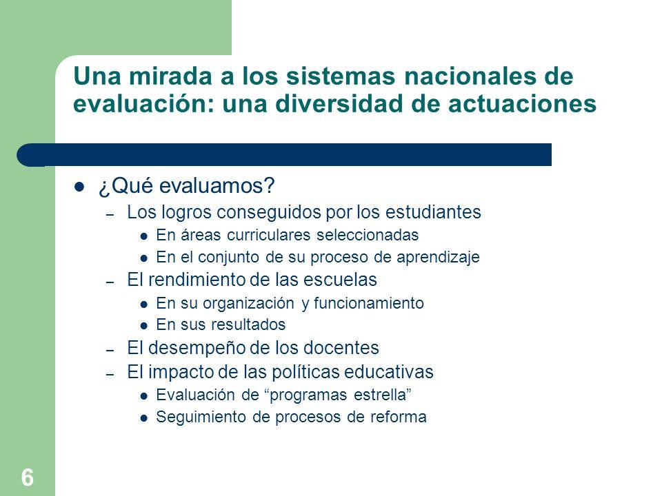 6 Una mirada a los sistemas nacionales de evaluación: una diversidad de actuaciones ¿Qué evaluamos? – Los logros conseguidos por los estudiantes En ár