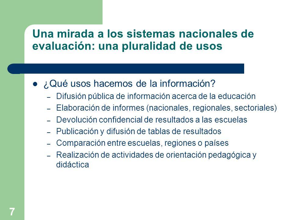 7 Una mirada a los sistemas nacionales de evaluación: una pluralidad de usos ¿Qué usos hacemos de la información? – Difusión pública de información ac