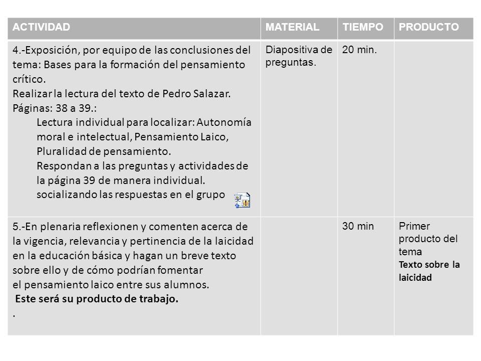 ACTIVIDADMATERIALTIEMPOPRODUCTO 4.- Exposición, por equipo de las conclusiones del tema: Bases para la formación del pensamiento crítico.