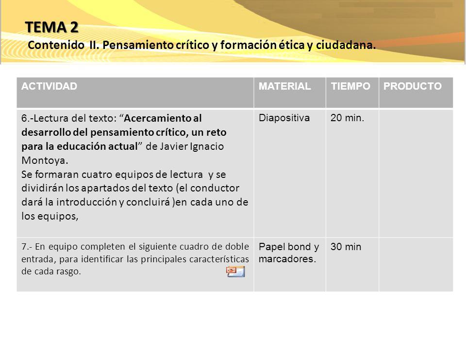 ACTIVIDADMATERIALTIEMPOPRODUCTO 6.- Lectura del texto: Acercamiento al desarrollo del pensamiento crítico, un reto para la educación actual de Javier Ignacio Montoya.