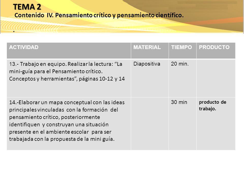 ACTIVIDADMATERIALTIEMPOPRODUCTO 15.- Lectura individual: La naturaleza de la ciencia, páginas: 1-17.