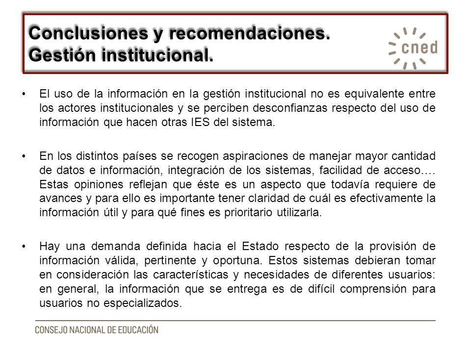 El uso de la información en la gestión institucional no es equivalente entre los actores institucionales y se perciben desconfianzas respecto del uso