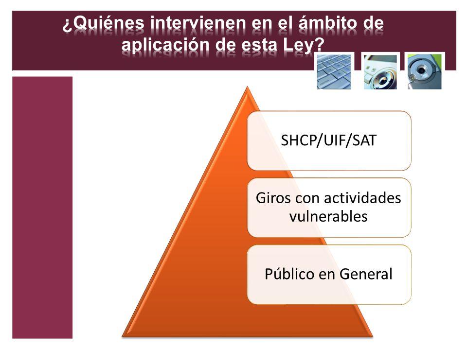 SHCP/UIF/SAT Giros con actividades vulnerables Público en General
