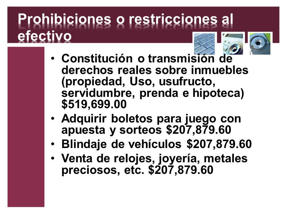 Constitución o transmisión de derechos reales sobre inmuebles (propiedad, Uso, usufructo, servidumbre, prenda e hipoteca) $519,699.00 Adquirir boletos