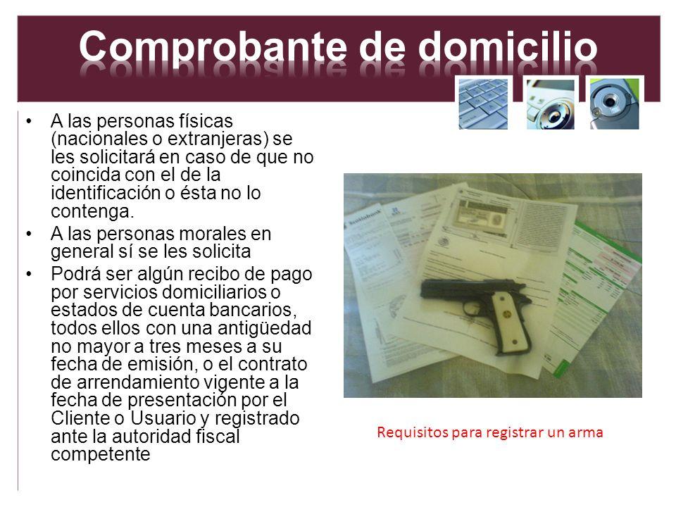 A las personas físicas (nacionales o extranjeras) se les solicitará en caso de que no coincida con el de la identificación o ésta no lo contenga. A la
