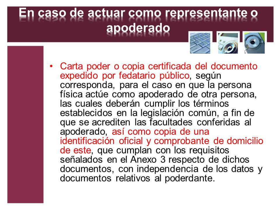 Carta poder o copia certificada del documento expedido por fedatario público, según corresponda, para el caso en que la persona física actúe como apod