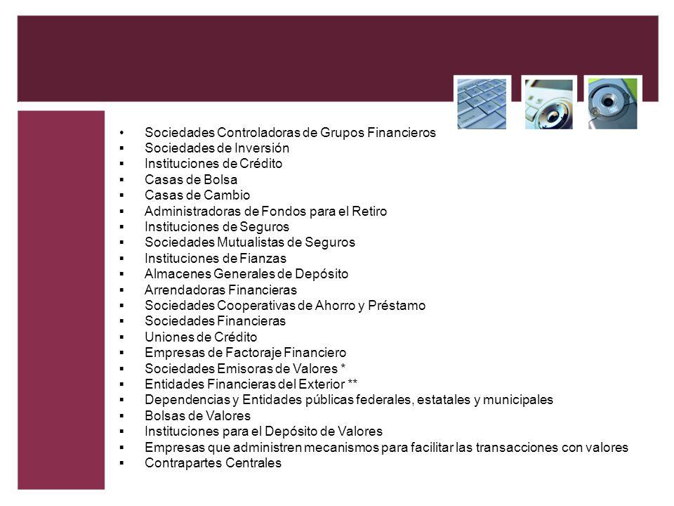 Sociedades Controladoras de Grupos Financieros Sociedades de Inversión Instituciones de Crédito Casas de Bolsa Casas de Cambio Administradoras de Fond