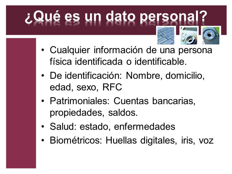 Cualquier información de una persona física identificada o identificable. De identificación: Nombre, domicilio, edad, sexo, RFC Patrimoniales: Cuentas