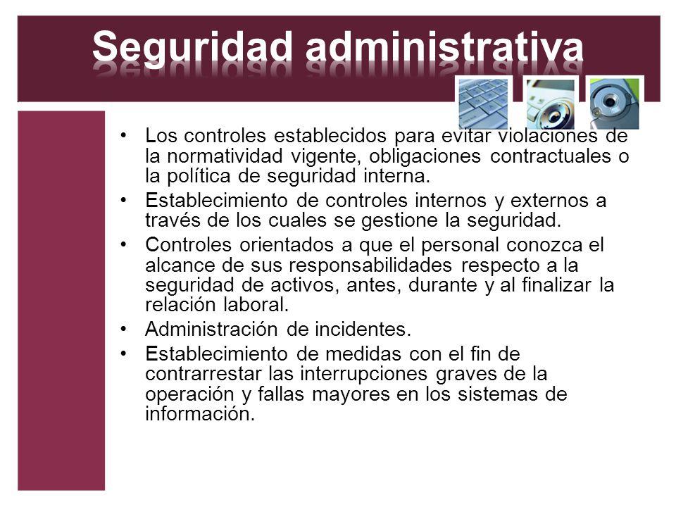 Los controles establecidos para evitar violaciones de la normatividad vigente, obligaciones contractuales o la política de seguridad interna. Establec