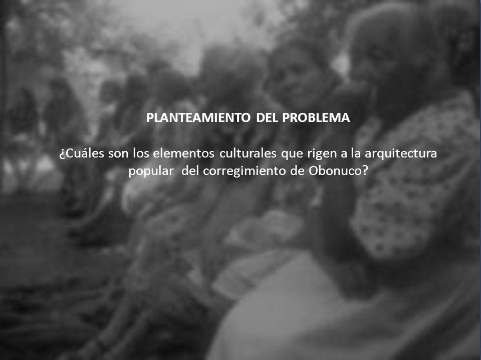 PLANTEAMIENTO DEL PROBLEMA ¿Cuáles son los elementos culturales que rigen a la arquitectura popular del corregimiento de Obonuco?