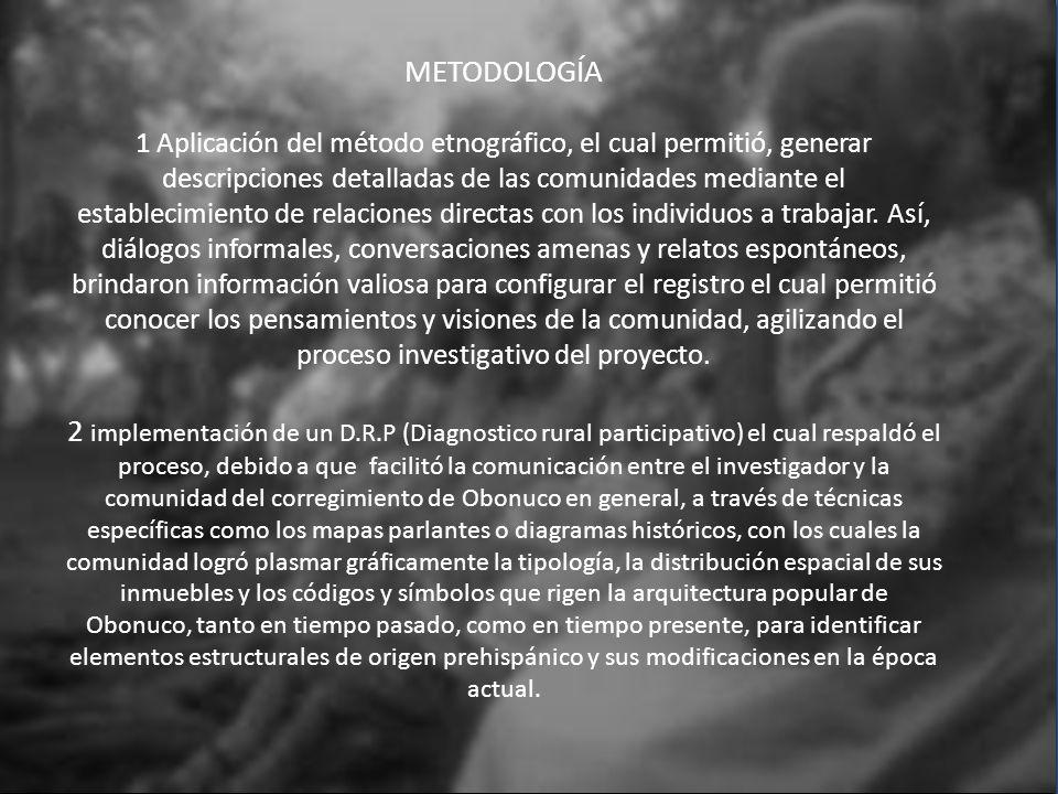 METODOLOGÍA 1 Aplicación del método etnográfico, el cual permitió, generar descripciones detalladas de las comunidades mediante el establecimiento de
