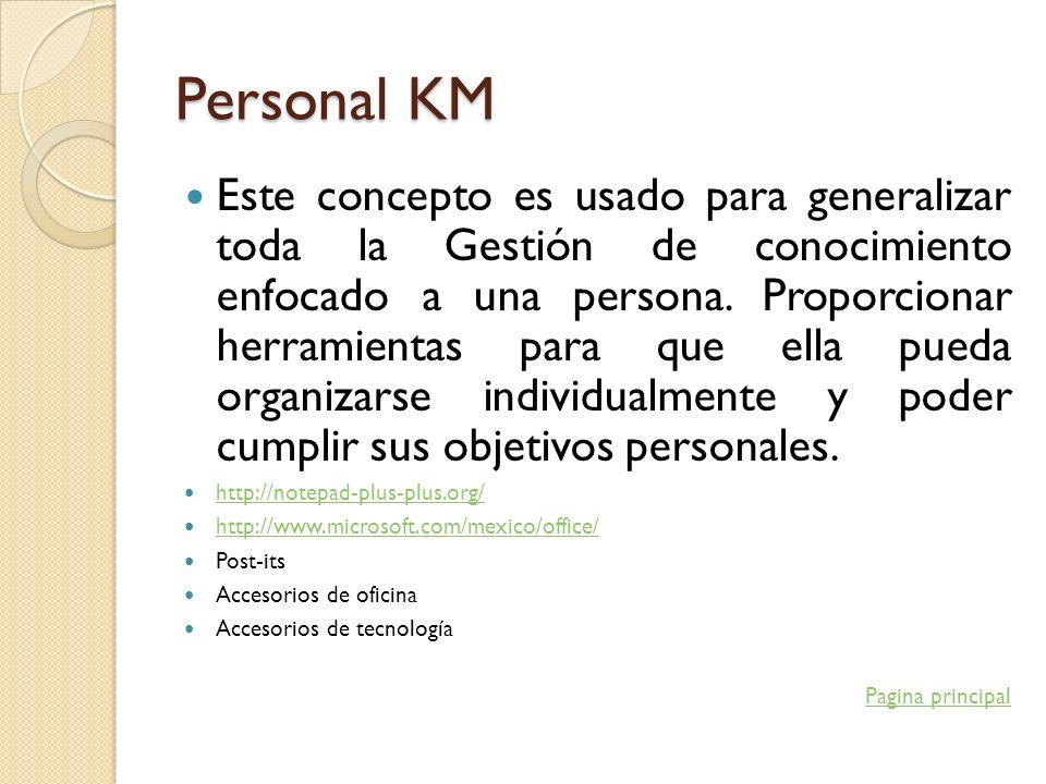 Personal KM Este concepto es usado para generalizar toda la Gestión de conocimiento enfocado a una persona. Proporcionar herramientas para que ella pu