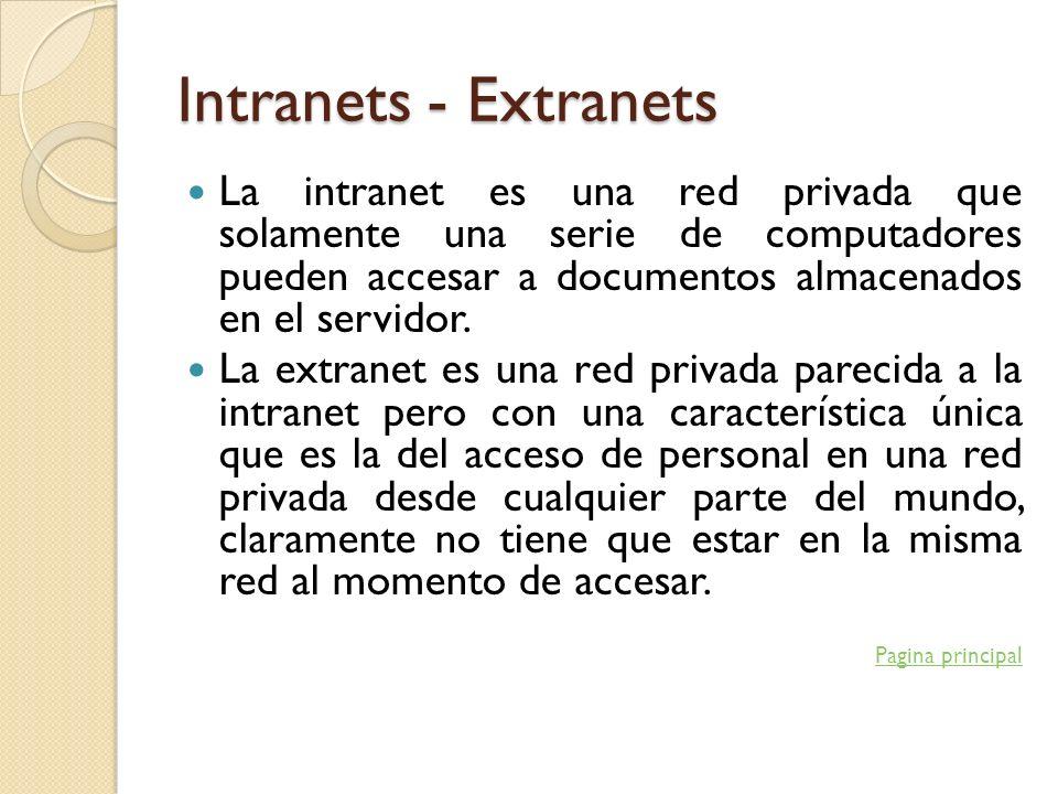 Intranets - Extranets La intranet es una red privada que solamente una serie de computadores pueden accesar a documentos almacenados en el servidor. L