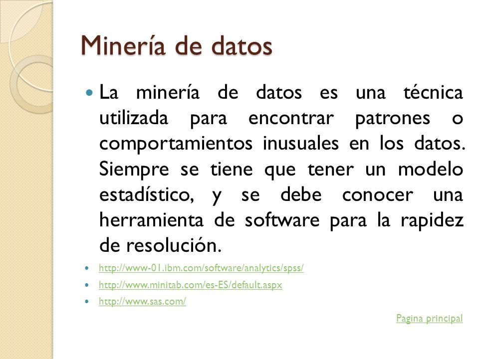 Minería de datos La minería de datos es una técnica utilizada para encontrar patrones o comportamientos inusuales en los datos. Siempre se tiene que t