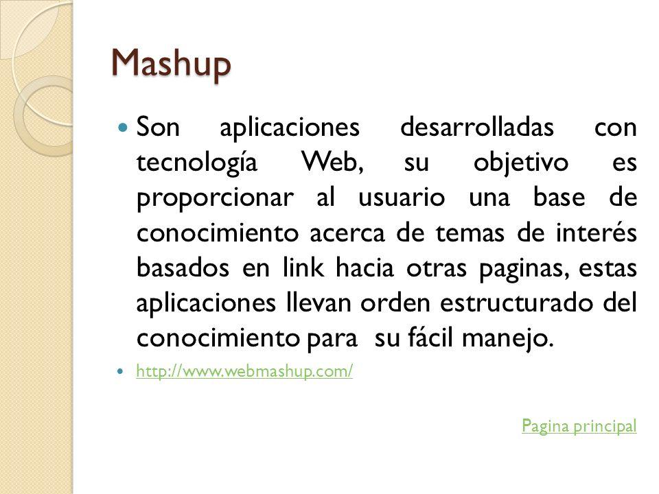 Mashup Son aplicaciones desarrolladas con tecnología Web, su objetivo es proporcionar al usuario una base de conocimiento acerca de temas de interés b
