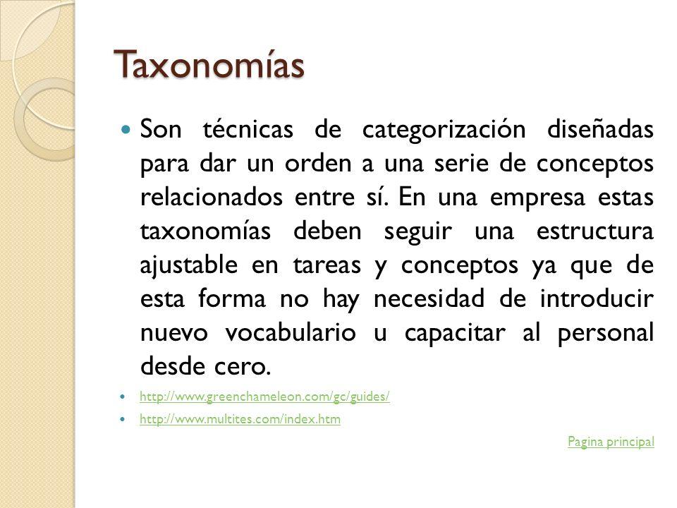 Taxonomías Son técnicas de categorización diseñadas para dar un orden a una serie de conceptos relacionados entre sí. En una empresa estas taxonomías