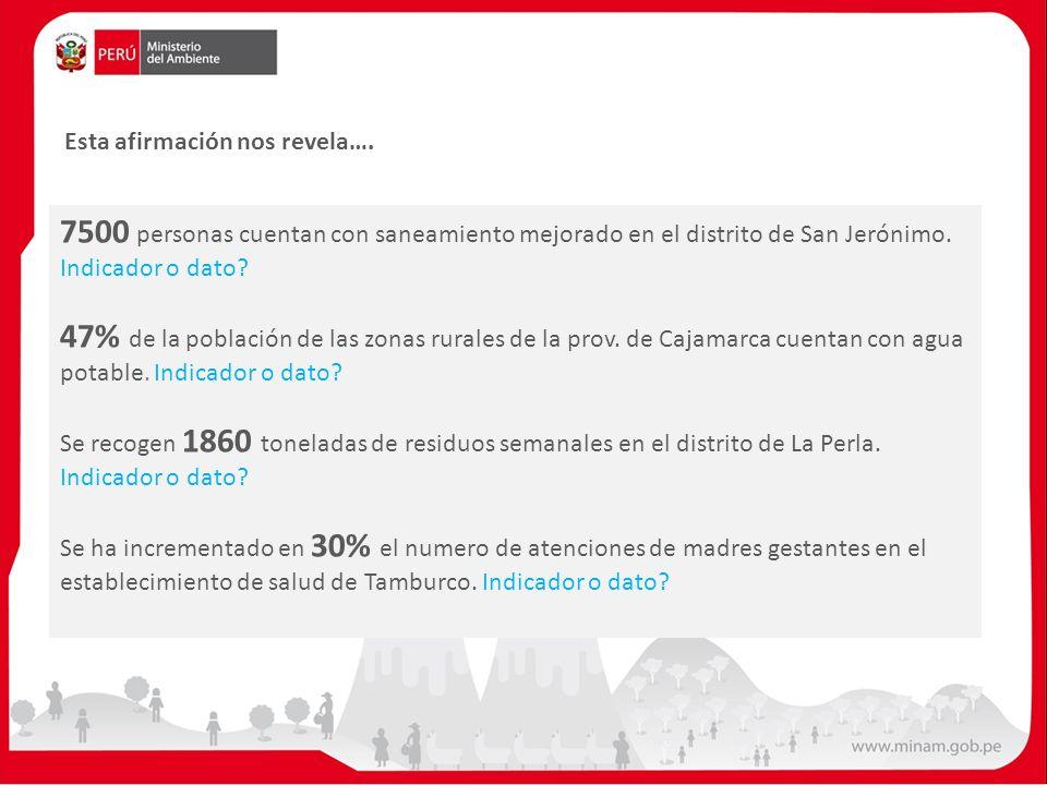 7500 personas cuentan con saneamiento mejorado en el distrito de San Jerónimo. Indicador o dato? 47% de la población de las zonas rurales de la prov.