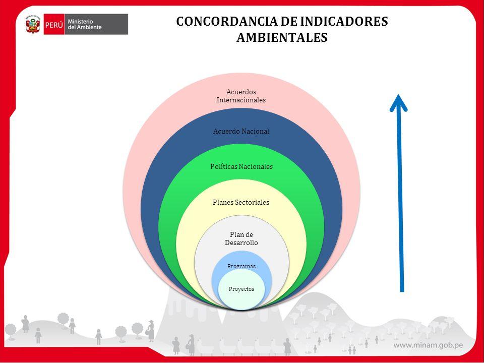 CONCORDANCIA DE INDICADORES AMBIENTALES Acuerdos Internacionales Acuerdo Nacional Políticas Nacionales Planes Sectoriales Plan de Desarrollo Programas Proyectos