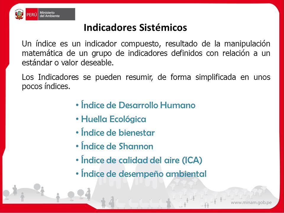 Indicadores Sistémicos Un índice es un indicador compuesto, resultado de la manipulación matemática de un grupo de indicadores definidos con relación a un estándar o valor deseable.