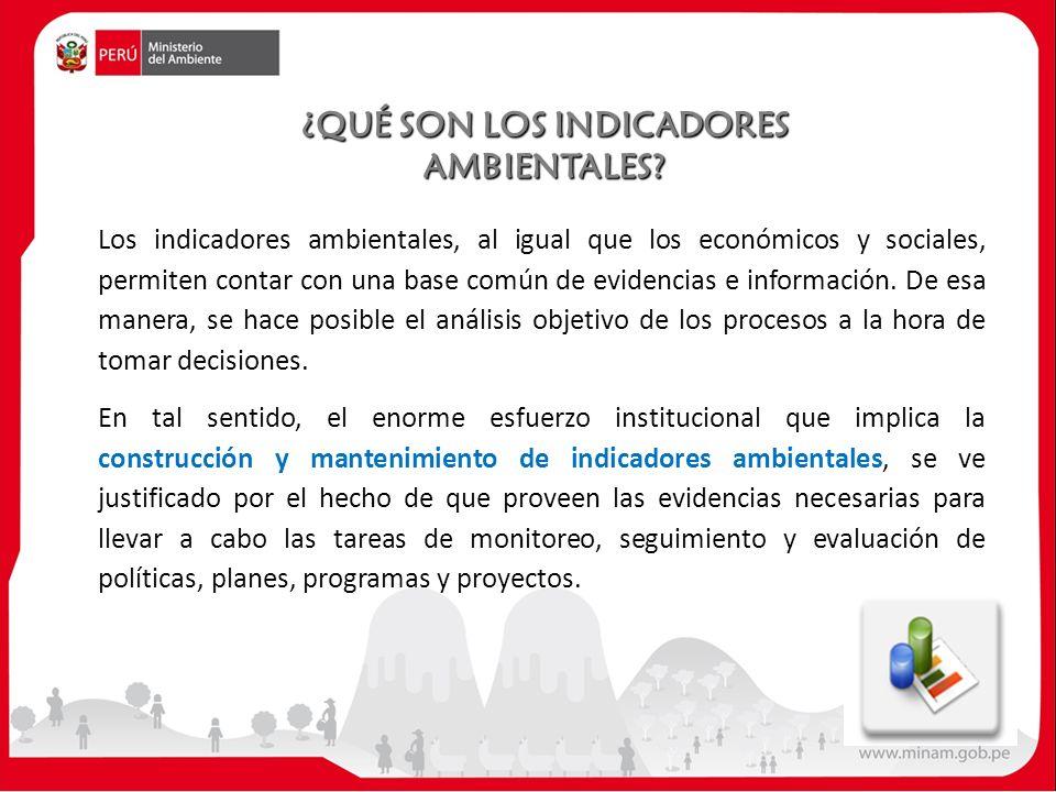 Los indicadores ambientales, al igual que los económicos y sociales, permiten contar con una base común de evidencias e información.