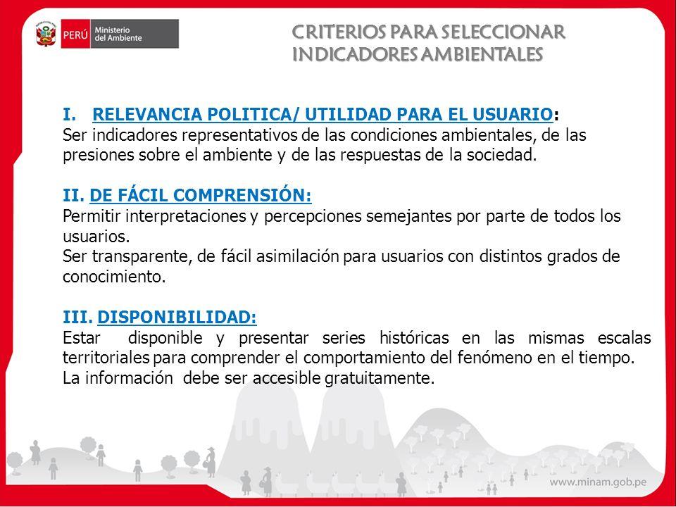 CRITERIOS PARA SELECCIONAR INDICADORES AMBIENTALES I.RELEVANCIA POLITICA/ UTILIDAD PARA EL USUARIO: Ser indicadores representativos de las condiciones