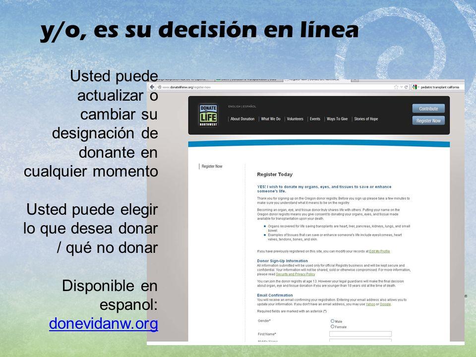 y/o, es su decisión en línea Usted puede actualizar o cambiar su designación de donante en cualquier momento Usted puede elegir lo que desea donar / q