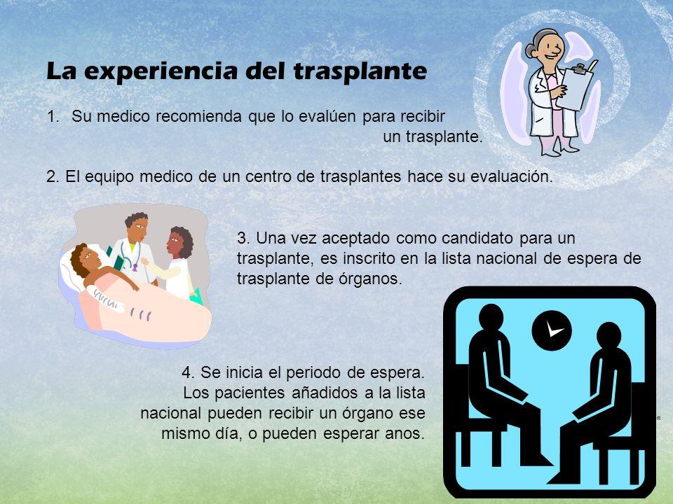 La experiencia del trasplante 1.Su medico recomienda que lo evalúen para recibir un trasplante. 2. El equipo medico de un centro de trasplantes hace s