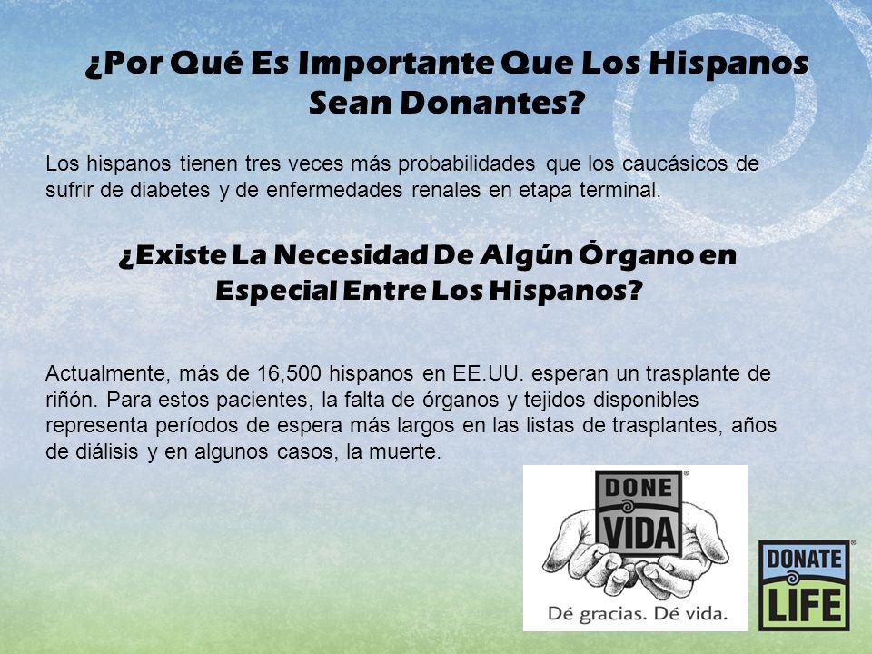Los hispanos tienen tres veces más probabilidades que los caucásicos de sufrir de diabetes y de enfermedades renales en etapa terminal. Actualmente, m