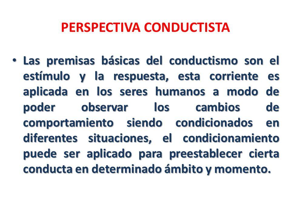 PERSPECTIVA CONDUCTISTA Las premisas básicas del conductismo son el estímulo y la respuesta, esta corriente es aplicada en los seres humanos a modo de