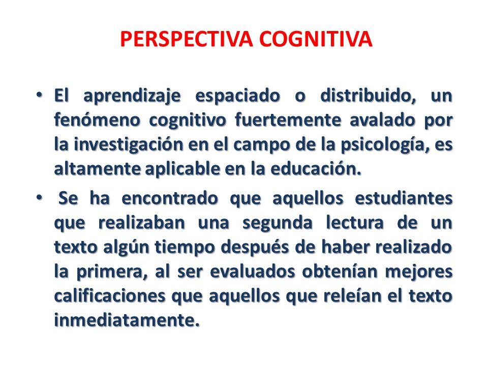 PERSPECTIVA COGNITIVA El aprendizaje espaciado o distribuido, un fenómeno cognitivo fuertemente avalado por la investigación en el campo de la psicolo