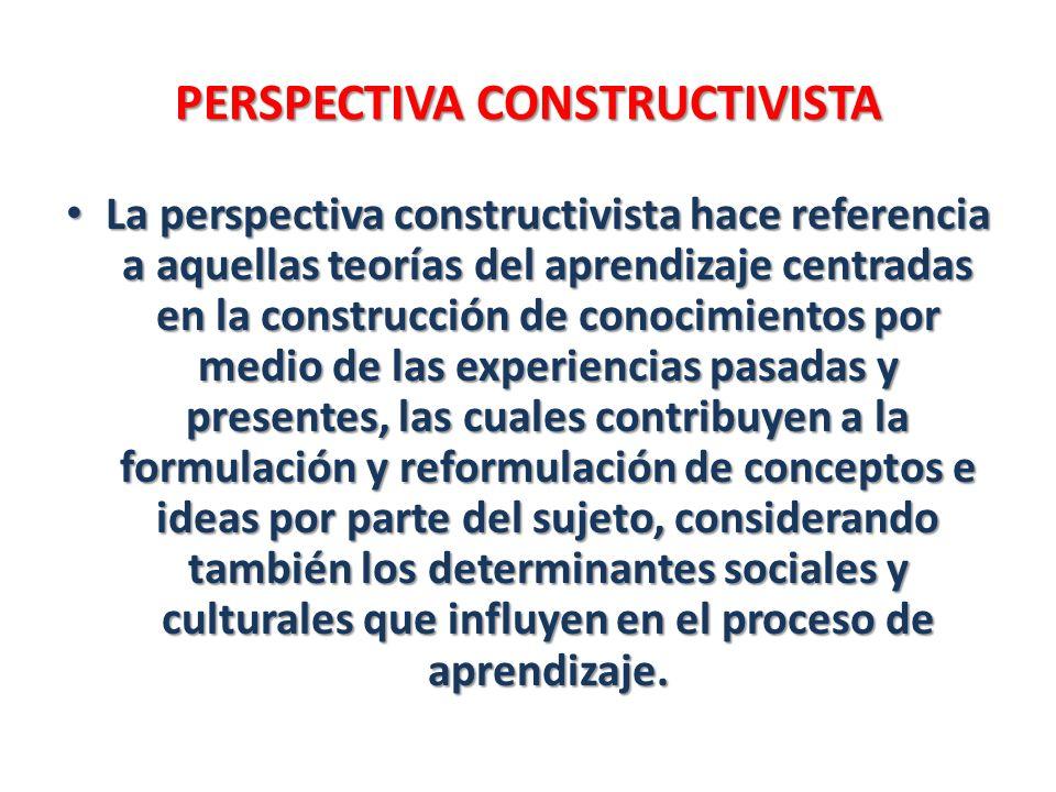 PERSPECTIVA CONSTRUCTIVISTA La perspectiva constructivista hace referencia a aquellas teorías del aprendizaje centradas en la construcción de conocimi