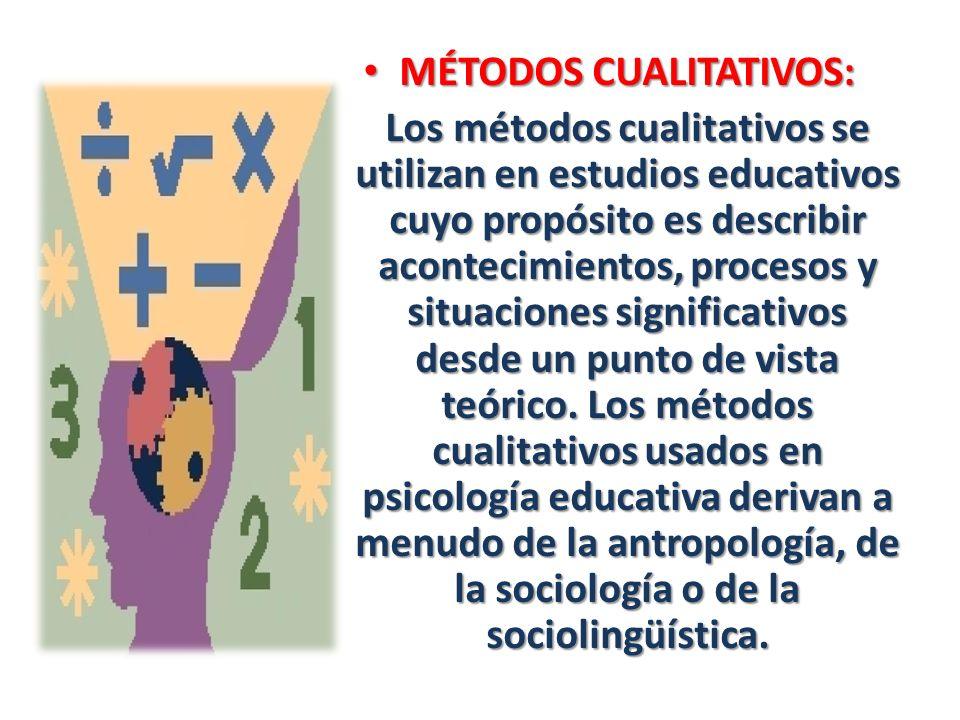 MÉTODOS CUALITATIVOS: MÉTODOS CUALITATIVOS: Los métodos cualitativos se utilizan en estudios educativos cuyo propósito es describir acontecimientos, p