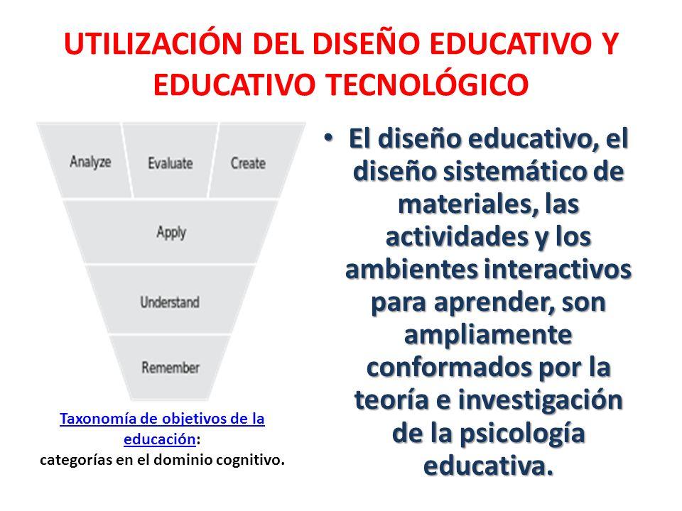 UTILIZACIÓN DEL DISEÑO EDUCATIVO Y EDUCATIVO TECNOLÓGICO El diseño educativo, el diseño sistemático de materiales, las actividades y los ambientes int