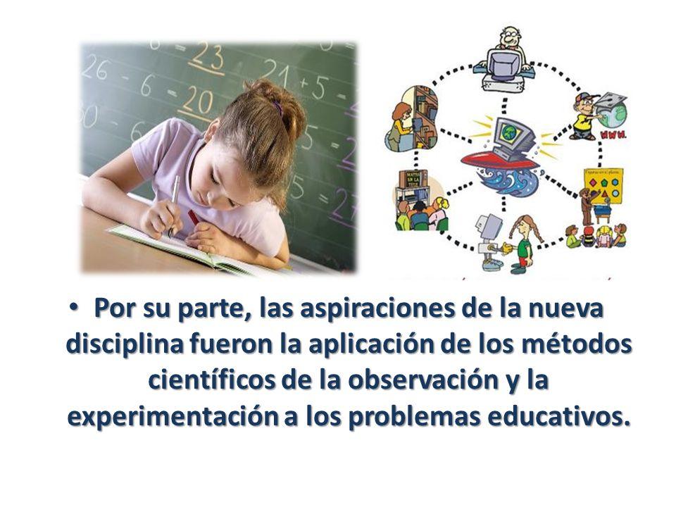 Por su parte, las aspiraciones de la nueva disciplina fueron la aplicación de los métodos científicos de la observación y la experimentación a los pro